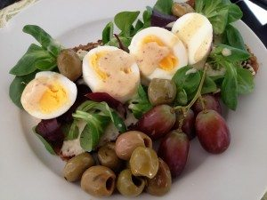 Open Egg Salad Sambo with Green Olives & Grapes