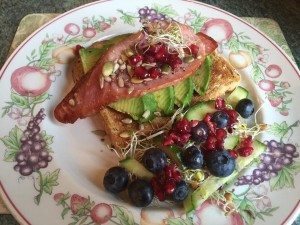 Grilled Smoked Bacon with Avocado on Toast