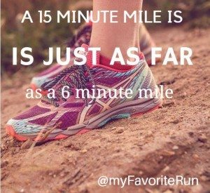 Chocolate - 15 minute mile just as far as 6 minute mile